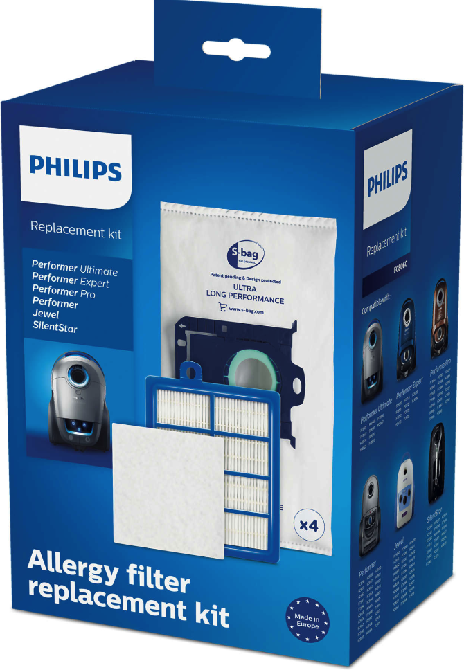 PHILIPS Kit Démarrage Sacs + 2 Filtres Aspi Perform